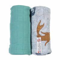 Otulacz Lodger Swaddler Empire Fish/Solid, bawełniany 2-pack 120x120 cm, Dusty Turquoise