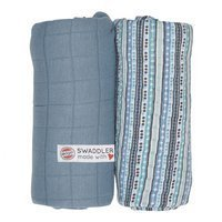 Otulacz Lodger Swaddler  Print/Solid, muślinowy 2-pack, 120x120cm, Dusty Turquoise/Stripes