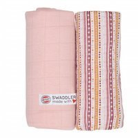 Otulacz Lodger Swaddler Print/Solid, muślinowy 2-pack, 120x120cm,,Sensitive/Stripes