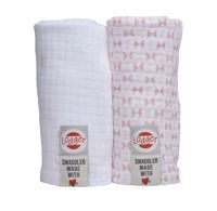 Otulacz Lodger Swaddler, muślinowy 2-pack 120x120 cm, Blush/White