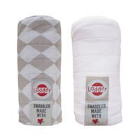 Otulacz Lodger Swaddler muślinowy 2-pack 120x120 cm, Shell/White