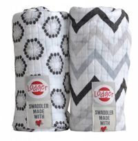 Pieluszki 2-pack Lodger Swaddler Zig Zag/White Limited edition
