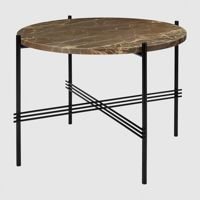Stolik Gubi TS, Ø55cm Black Base/Marble Brown Top