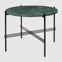 Stolik Gubi TS, Ø55cm Black Base/Marble Green Top