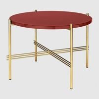 Stolik Gubi TS, Ø55cm Brass Base/Glass Rusty Red Top