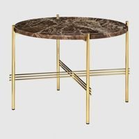 Stolik Gubi TS, Ø55cm Brass Base/Marble Brown Top