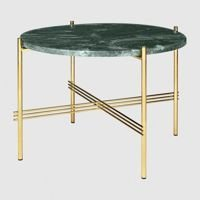 Stolik Gubi TS, Ø55cm Brass Base/Marble Green Top