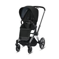 Wózek spacerowy Cybex Priam 2.0 na stelażu Chrome Black z siedziskiem LUX, Deep Black
