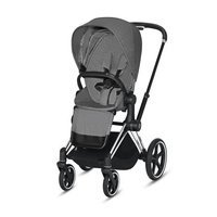 Wózek spacerowy Cybex Priam 2.0 na stelażu Chrome Black z siedziskiem LUX, Manhattan Grey Plus