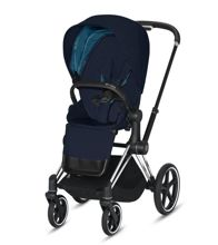 Wózek spacerowy Cybex Priam 2.0 na stelażu Chrome Black z siedziskiem LUX, Midnight Blue Plus