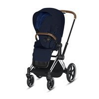 Wózek spacerowy Cybex Priam 2.0 na stelażu Chrome Brown z siedziskiem LUX, Midnight Blue Plus
