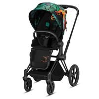 Wózek spacerowy Cybex Priam Birds of Paradise na stelażu Matt Black z siedziskiem LUX