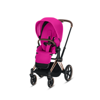 Wózek spacerowy Cybex Priam na stelażu Chrome Black z siedziskiem LUX Fancy Pink