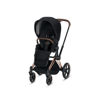 Wózek spacerowy Cybex Priam na stelażu Chrome Brown z siedziskiem LUX Premium Black