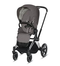 Wózek spacerowy Cybex e-Priam 2.0 na stelażu Chrome Black z siedziskiem LUX, Manhattan Grey Plus