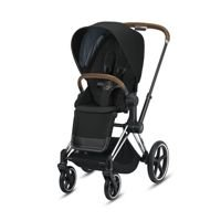Wózek spacerowy Cybex e-Priam 2.0 na stelażu Chrome Brown z siedziskiem LUX, Deep Black