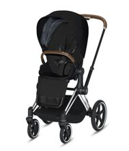 Wózek spacerowy Cybex e-Priam 2.0 na stelażu Chrome Brown z siedziskiem LUX, Stardust Black Plus