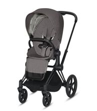 Wózek spacerowy Cybex e-Priam 2.0 na stelażu Matt Black z siedziskiem LUX, Manhattan Grey Plus