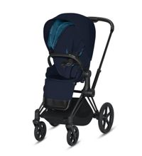 Wózek spacerowy Cybex e-Priam 2.0 na stelażu Matt Black z siedziskiem LUX, Midnight Blue Plus