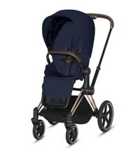 Wózek spacerowy Cybex e-Priam 2.0 na stelażu Rose Gold z siedziskiem LUX, Midnight Blue Plus