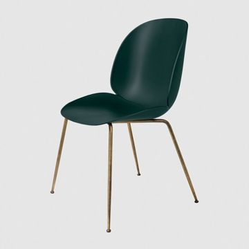 Krzesło Gubi, model Beetle Dining Chair, Antique Brass Base/Dark Green