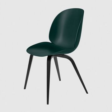 Krzesło Gubi, model Beetle Dining Chair, Black Stained Beech Base/Dark Green