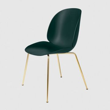 Krzesło Gubi, model Beetle Dining Chair, Brass Base/Dark Green
