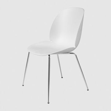 Krzesło Gubi, model Beetle Dining Chair, Chrome Base/Pure White