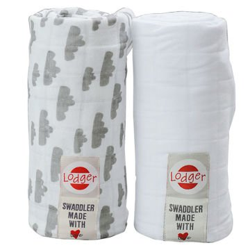 Otulacz Pielucha Swaddler Lodger Grey/White 120x120 2pack