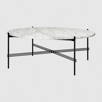 Stolik Gubi TS, Ø105cm Black Base/Marble White Top