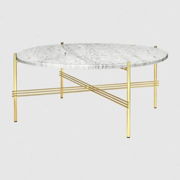 Stolik Gubi TS, Ø80cm Brass Base/Marble White Top