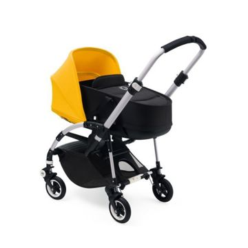 Wózek spacerowy Bugaboo Bee5 BLACK+/STEEL BLUE z budką NEON RED