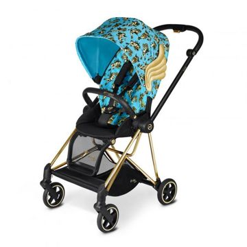 Wózek spacerowy Cybex Mios Cherubs Blue by Jeremy Scott na stelażu Gold