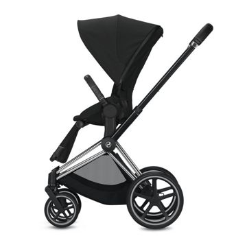 Wózek spacerowy Cybex e-Priam 2.0 na stelażu Chrome Black z siedziskiem LUX, Deep Black