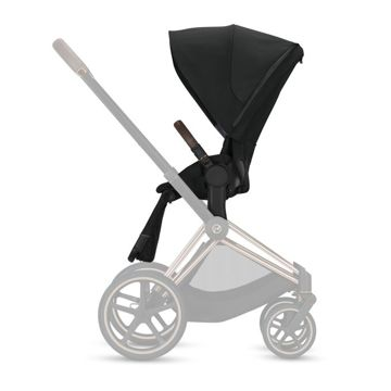 Wózek spacerowy Cybex e-Priam 2.0 na stelażu Chrome Black z siedziskiem LUX, Soho Grey