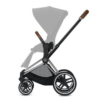 Wózek spacerowy Cybex e-Priam 2.0 na stelażu Chrome Brown z siedziskiem LUX, Autumn Gold