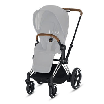 Wózek spacerowy Cybex e-Priam 2.0 na stelażu Chrome Brown z siedziskiem LUX, Khaki Green