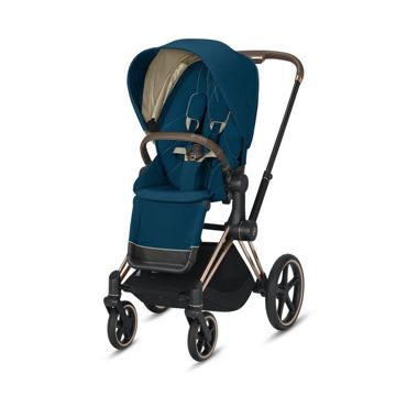 Wózek spacerowy Cybex e-Priam 2.0 na stelażu Chrome Brown z siedziskiem LUX, Mountain Blue
